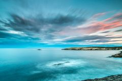 Zmierzchy w morzu plaże i wybrzeża Galicia i Asturias zdjęcia stock