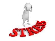Zmieszany bielu 3d mężczyzna z czerwonym stresu teksta słowem Zdjęcie Stock