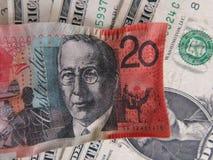 Zmniejszający się dolar australijski przeciw dolarowi amerykańskiemu Zdjęcia Royalty Free