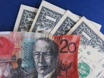 Zmniejszający się dolar australijski przeciw dolarowi amerykańskiemu Obrazy Stock