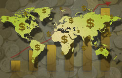 Zmniejszający się wykres z dolarowym znakiem i prętowym wykresem. Obrazy Royalty Free