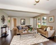 Zmodernizowany żywy pokój z grabą i puszysty dywanik, zdjęcie royalty free