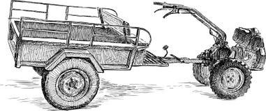 Zmotoryzowany rolny wheelbarrow ilustracji