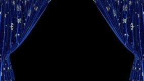 Zmrok - błękitne zasłony z płatek śniegu ruszają się oddzielnie w różnych kierunkach Z alfa kanałem royalty ilustracja