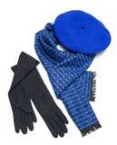 Zmrok błękitny szalik, beret i czarne woolen rękawiczki -, Zdjęcia Royalty Free