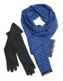 Zmrok błękitny szalik i czarne woolen rękawiczki - Fotografia Royalty Free