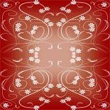 Zmrok - czerwieni płytka w art deco stylu z małymi kwiecistymi wzorami Zdjęcia Royalty Free