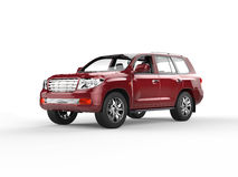 Zmrok - czerwony SUV Zdjęcie Royalty Free