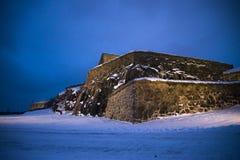 Zmrok i zimno przy fredriksten fortecę (smok) Obrazy Royalty Free