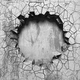 Zmrok pękająca łamająca dziura w betonowej ścianie Grunge tło ilustracja wektor