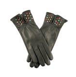 Zmrok popielate rzemienne rękawiczki z kolorowymi kryształami Obrazy Stock
