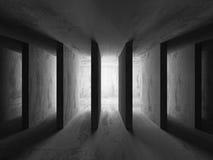 Zmrok pustych betonowych ścian izbowy wewnętrzny tło arch abstrakcyjne Ilustracja Wektor