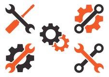 Zmrok - szarość i pomarańczowy ustawiający narzędzie ikona wektor ilustracja wektor