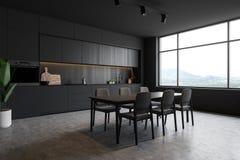 Zmrok - szary loft kuchni kąt z stołem royalty ilustracja