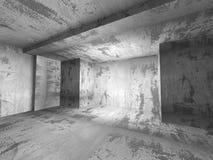 Zmroku betonu pusty izbowy wewnętrzny tło Obrazy Royalty Free