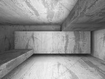 Zmroku betonu pusty izbowy wewnętrzny tło Zdjęcie Royalty Free