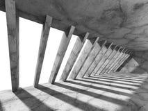 Zmroku betonu pusty pokój z kolumnami i światłem Miastowy architekt Zdjęcia Stock