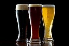 Zmroku, czerwonego i lekkiego piwo, Fotografia Royalty Free