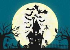Zmroku dom na błękitnym księżyc w pełni Ilustracja Wektor