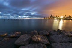 Zmroku dwa barwiony wschód słońca Zdjęcie Stock
