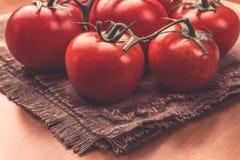 Zmroku zamknięty up wizerunek Wyśmienicie czerwoni pomidory Może używać jako zdrowy karmowy backg Obrazy Stock