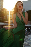 Zmysłowa kobieta jest ubranym elegancką jedwab suknię z ciemnym włosy Fotografia Stock