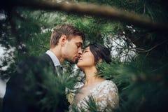 Zmysłowa para małżeńska, valentines ściska przed starym slavi obraz stock