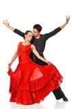 Zmysłowej pary dancingowy salsa. Latynoscy tancerze w akci. Zdjęcia Royalty Free