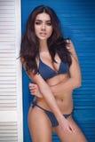 Zmysłowa brunetka w swimwear Obrazy Royalty Free
