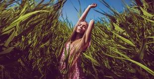 Zmysłowa seksowna kobieta w sukni w wysokiej trawie Obraz Stock