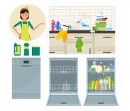 Zmywarka do naczyń, kuchenny faucet i gospodyni domowa, Wektorowa płaska ilustracja Fotografia Stock