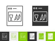 Zmywarka do naczyń czerni linii wektoru prosta ikona ilustracja wektor