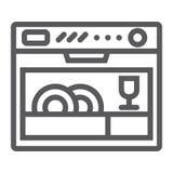 Zmywarkiej do naczyń kreskowa ikona, urządzenie i kuchnia, gospodarstwo domowe znak, wektorowe grafika, liniowy wzór na białym tl ilustracja wektor