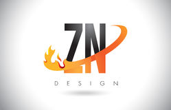 ZN Z N Letter Logo with Fire Flames Design and Orange Swoosh. Royalty Free Stock Photo
