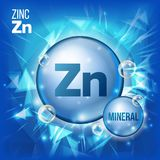 Zn Zinc Vector. Mineral Blue Pill Icon. Vitamin Capsule Pill Icon. Substance For Beauty, Cosmetic, Heath Promo Ads. Design. Mineral Complex With Chemical vector illustration
