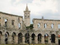 Znacząco i sławny zabytek w Pula, powszechnie dzwoniących arena Pula zdjęcie royalty free