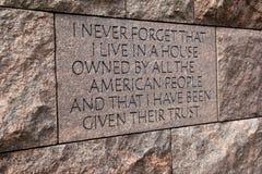 Znacząco słowa past prezydent, Franklin d Roosevelt pomnik, Waszyngton, DC, 2016 Obrazy Stock