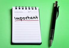 Znacząco słowo na notatniku Fotografia Stock