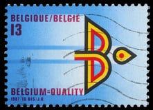 Znaczek drukujący Belgia pokazuje rok belga eksport zdjęcie royalty free