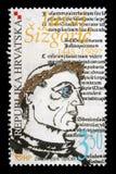 Znaczek drukujący Chorwacja pokazuje Juraj Sisgoric obraz royalty free