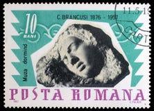 Znaczek drukujący duma Constantin Brancusi w Rumunia przedstawień Spać obrazy stock