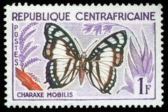 Znaczek drukujący w Środkowo-afrykański republice pokazuje motyla, Charaxe Mobilis Obraz Stock