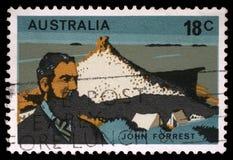 Znaczek drukujący w Australia pokazuje John Forrest obraz royalty free