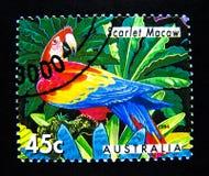Znaczek drukujący w Australia pokazuje wizerunek Szkarłatny ara ptak na wartości przy 45 centem zdjęcia stock