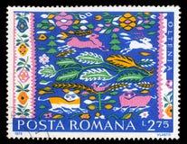 Znaczek drukujący w Rumunia pokazuje Rumuńskich Chłopskich dywaniki, Oltenia Obraz Stock