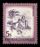 Znaczek drukujący w Austria pokazuje Aggstein kasztel Zdjęcia Royalty Free
