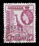 Znaczek pocztowy drukujący Kenja, Uganda i Tanganyika, obraz stock