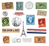 Znaczek pocztowy i etykietki od Francja Fotografia Royalty Free