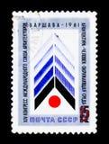Znaczek pocztowy poświęcać kongres międzynarodowy zjednoczenie architekci w Warszawa XIV, około 1981 Obrazy Stock
