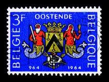 Znaczek pocztowy poświęcać 1000 rok miasto Oostende, Oostende milenium seria około 1964, Zdjęcie Stock